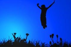 Springend silhouet Stock Foto