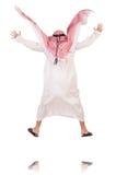 Springende Arabische die zakenman op het wit wordt geïsoleerd Stock Foto