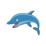Springende Bottlenosedelphinzeichentrickfilm-figur Lizenzfreie Stockfotos