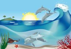 Springende Delphine vektor abbildung