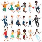 Springende en dansende gelukkige jongeren in toevallig en formele kleding De vlakke set van tekens van de beeldverhaal vectorspro vector illustratie