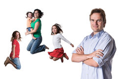 Springende Familie Lizenzfreie Stockfotos