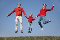 Springende Frühlingsfamilie Stockbild
