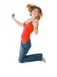 Springende Frau lizenzfreie stockfotos