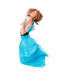Springende gelukkige geïsoleerdee vrouw Royalty-vrije Stock Foto