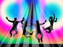 Springende Gelukkige Joy Represents Light Burst And Royalty-vrije Stock Afbeeldingen