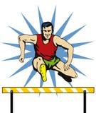 Springende Hürde des Athleten Stockbilder