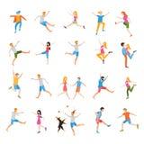 Springende hoge mannelijke en vrouwelijke mensenavatar vastgestelde vectorillustratie Royalty-vrije Stock Fotografie