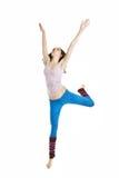 Springende jonge danser die op wit wordt geïsoleerda Royalty-vrije Stock Afbeeldingen