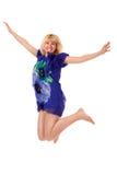 Springende jonge vrouw Royalty-vrije Stock Fotografie