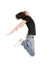 Springende jongen in zwarte 3 Stock Fotografie