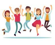 Springende junge glückliche Menschen in der zufälligen Kleidung Flache Vektorcharaktere eingestellt Stockfoto