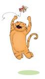 Springende Katze und buttefly Lizenzfreie Stockfotografie