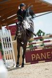 Springende Konkurrenz des Pferds in Pezinok, Slowakei Lizenzfreies Stockfoto