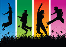 Springende Leute Stockfoto