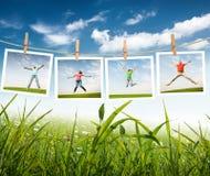 Springende Leute Stockfotos