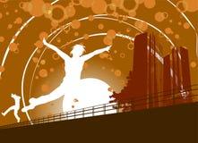 Springende Leute und Gebäude Lizenzfreie Stockfotos