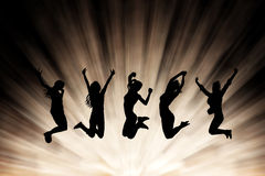 Springende meisjes vector illustratie