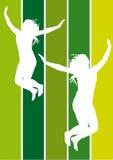 Springende meisjes royalty-vrije illustratie