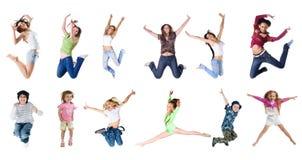 Springende mensen Royalty-vrije Stock Foto's