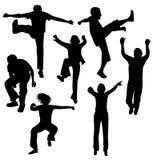 Springende mensen Stock Foto's