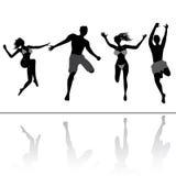 Springende mensen Stock Foto