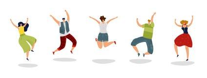 Springende mensen De energieke opgewekte vrienden van de kerelsprong verheugen zich groepstienerjaren overbevolken het jonge gelu vector illustratie