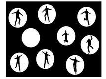 Springende mensensilhouetten Stock Afbeeldingen