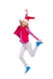 Springende Santa Little Girl Royalty-vrije Stock Afbeeldingen
