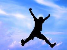 Springende silhouet-knippende weg Stock Fotografie