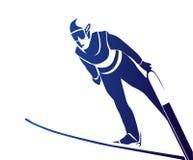 Springende skiër Stock Foto's