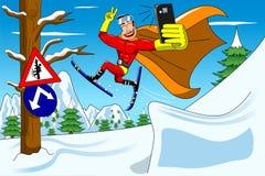 Springende Ski fahrende Selfie Warnung Supehero Stockbild