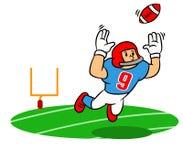 Springende Vangst van de beeldverhaal de Amerikaanse Voetbalster op The Field vector illustratie