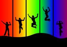 Springende vrouwen Stock Afbeelding