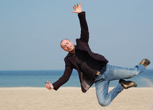 Springende zakenman Stock Foto