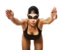 Springende zwemmer in zwart zwempak royalty-vrije stock foto