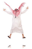Springender arabischer Geschäftsmann lokalisiert auf dem Weiß Stockfoto