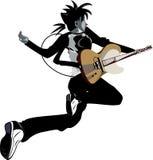 Springender Gitarrist Stockfoto