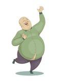 Springender lachender großer kahler Mann in einem grünen Hemd Stockfotos