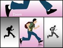 Springender Mann mit Büchern und Beutel Lizenzfreie Stockfotos