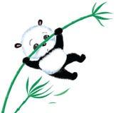 Springender Panda auf Bambus Lizenzfreie Stockfotografie