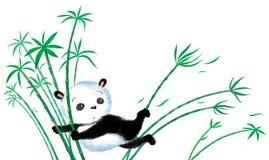 Springender Panda auf Bambus Stockfotografie