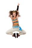 Springender und poiting Frauentänzer Stockfoto