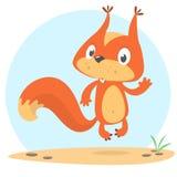 Springendes Eichhörnchen der netten Karikatur in der spielerischen Stimmung Vektorabbildung getrennt vektor abbildung