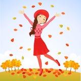 Springendes Herbstmädchen lizenzfreie abbildung