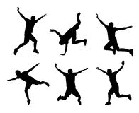 Springendes Leuteschattenbild stock abbildung