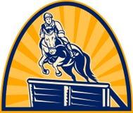 Springendes Pferd des Reitererscheinens Stockfoto