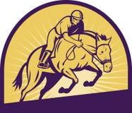 Springendes Pferd des Reitererscheinens Stockbild