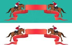 Springendes Pferd, jokey und Platz für Text Lizenzfreie Stockfotos