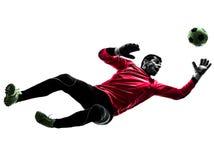 Springendes Schattenbild des kaukasischen Fußballspieler-Torhütermannes stockfotos
